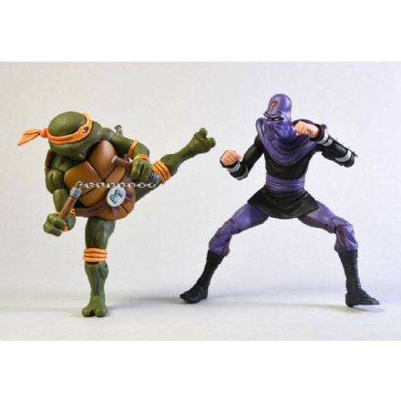 NECA Teenage Mutant Ninja Turtles Cartoon Action Figure 2 Pack - Michelangelo vs. Foot Soldier